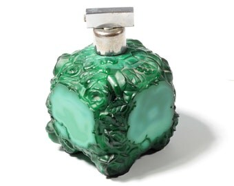 Collectible Vintage Czech Bohemian jadeite malachite glass perfume bottle Style of Curt Schlevogt Ingrid 1939