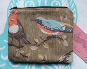 Handmade Makeup Bag Purse Cath Kidston Garden Birds fabric Designer Wool Fabric Cosmetic Pouch Padded Lined