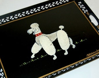 1950s Hand Painted Poodle Serving Display Tray Signed Alexander