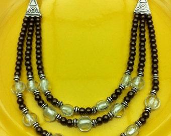 Brown colour statement necklace