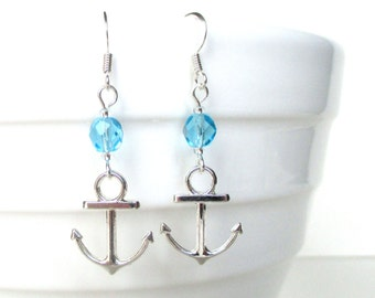 Custom birthstone earrings - Anchor earrings - Personalised birthday gift - Birthstone jewelry - Upgrade to Sterling silver - UK