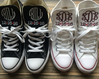 Wedding Embroidered Monogrammed Converse Hi Top Sneakers, Bride and Griom converse, wedding shoes