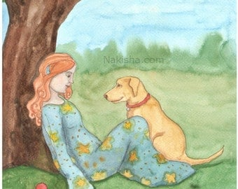 Watercolor Painting - Golden Dog -  Illustration