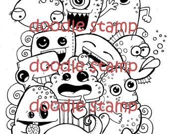 Hi! Monster Doodle Stamp