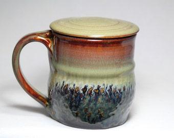 lidded 16oz pottery mug, coffee or tea cup with lid