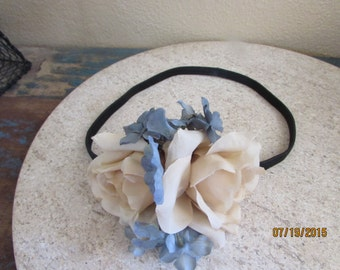 Flower girl basket and head band blue cream and black