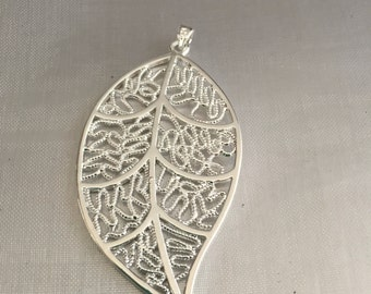 Leaf silver plated charm pendant