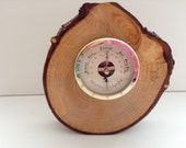 Hand Crafted Rustic English Cedar Barometer with Gold Coloured Fittings, Can Be Freestanding or Wall Mounted.