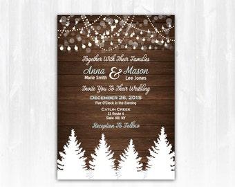 Winter Wedding Invitation DIY Digital File or Print (extra) Christmas Wedding Invitation Winter Wedding Invite Winter Tree Wedding Invite