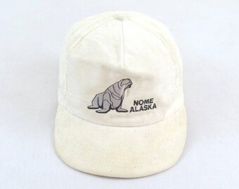 Vintage Nome Alaska White Corduroy Snapback Hat