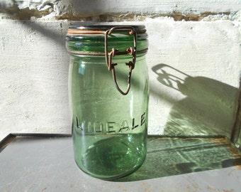 French preserving glass jar L' Ideale, vintage farmhouse kitchen storage, rustic home decor.