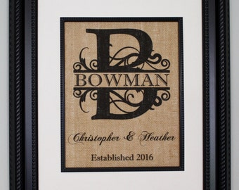 Personalized Burlap Print, Wedding Gift, Anniversary Gift, Engagement Gift, Split Monogram, Burlap Sign with Family Name