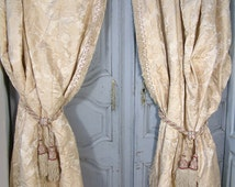 Vintage french ivory silk jacquard curtains with matching curtain tie backs. Ivory and red. Curtain tassles. Passementerie. Silk curtains
