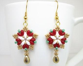 Tudor rose inspired starburst superduo star earrings, tudor jewelry, star earrings, Henry VIII, Anne Boleyn