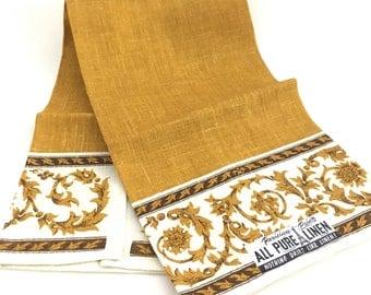 Pure Linen Tea Towel Ornate Gold Scrolls Acanthus Scrolls Unused Crisp Parisian Prints Kitchen Hand Towel