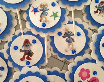 24 SMURF Birthday Party Baby Shower cupcake toppers picks pics