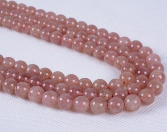 8MM147 8mm Strawberry quartz round ball loose gemstone beads 16""
