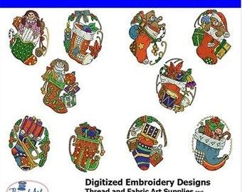 Embroidery Design Cd - Stocking (1) - 10 Designs - 8 Popular Formats - Threadart