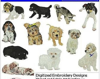 Embroidery Design CD - Puppies(1) - 13 Designs - 9 Formats - Threadart