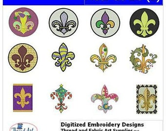 Embroidery Design CD - Fleur-de-Lis(2) - 12 Designs - 9 Formats - Threadart