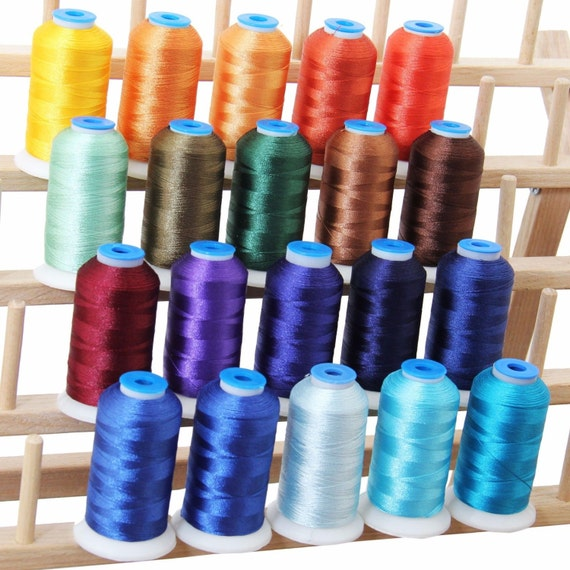 Polyester machine embroidery thread set royal colors