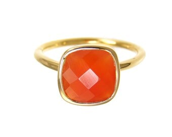 Carnelian Ring - Birthstone Ring - Gold Ring - Cushion Ring - Gemstone Ring - Stackable Ring - Bridesmaid ring