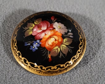 Vintage Antique Brooch Pin Signed Painted Wood Unique Floral Design     KW