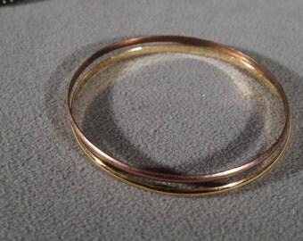 Vintage Art Deco Style Yellow Gold Tone Round Two Double Bangles Bracelet Jewelry    K#19