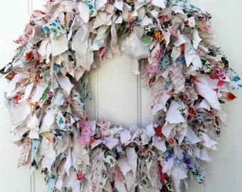 Rag wreath, fabric wreath, shabby chic wreath, summer wreath, spring wreath