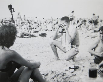 Caught Taking Pictures - Vintage 1950's Snapshot Photo Of Young Man At The Beach Taking A Picture - Free Shipping