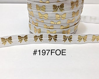 "3 or 5 yard - 5/8"" Gold Gold Bow on White Fold Over Elastic Headband Hair Accessories"