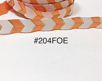 "2/3/5 yard - 5/8"" Gold, Orange and White Fold Over Elastic Headband Hair Accessories"