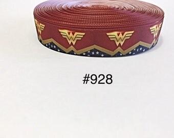 "3 or 5 yard - 1"" Wonder Woman with Star Motif on Grosgrain Ribbon Hair bow"