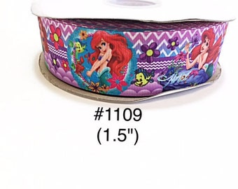 """3 or 5 yard - 1.5"""" Princess Ariel and Flounder The Fish Zig Zag and Polka Dot Grosgrain Ribbon Hair bow"""