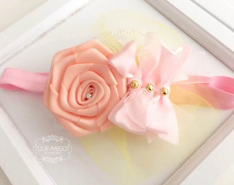 Headband headband pink satin bow flower fishing
