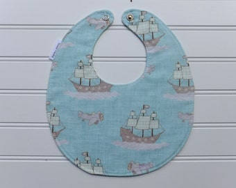 Baby Bibs, Ahoy! Pirate Ship Baby Bib, Drool Bib, Baby Shower Bib, New Baby Bib