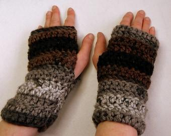 Gray Fingerless Gloves Brown Fingerless Gloves Black Fingerless Gloves Grey Fingerless Gloves Crocheted Fingerless Gloves Hand Made