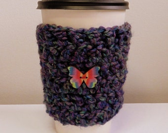 Coffee Cup Sleeve Cozy Take Out Coffee Cup Sleeve Cozy Crocheted Coffee Cup Sleeve Cozy Purple Coffee Cup Sleeve Purple Take Out Cup Cozy