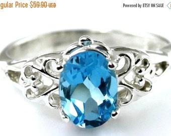 Summer Sale, 30% Off, SR302, Swiss Blue Topaz, 925 Sterling Silver Ring