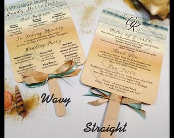 Beach Themed Paddle Fan Wedding Programs, Wedding Programs, Paddle Fan Programs for Destination Weddings • 110lb Matte Cardstock