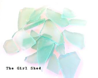 Sea Glass- Aqua, Frosted, Man Made