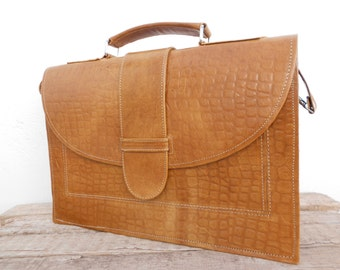 Light Brown Leather Laptop Bag for Women, Leather Messenger Satchel Bag , Gift for her