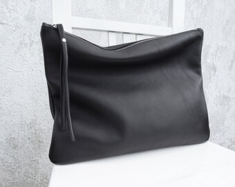 Oversize Leather Pouch/Big Leather Clutch
