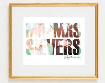 Mr & Mrs Wedding Print with Photo