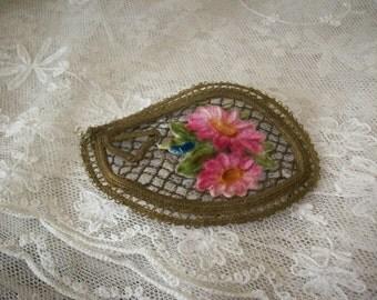 Wonderful metallic antique appliqué with ombre velvet silk lovely patina