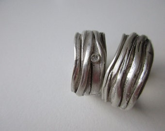 """Set Weddingrings , band ,sterling  silver  """"Lean on me"""" Silver With Diamant,engagement ring"""