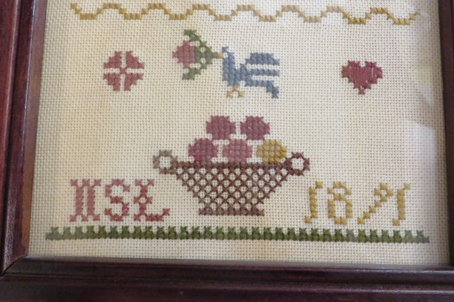 Small Sampler Re-Make of an 1871 Sampler // Dark Wood Frame ...
