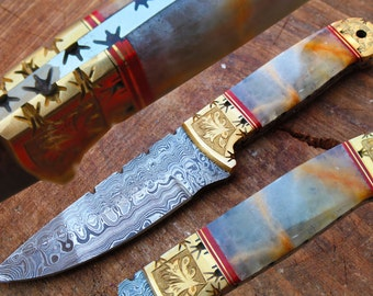 """One of a Kind 8.7"""" Damascus Blade Collector Hunting Knife w/Engraved Brass Bolsters, Afghan ONYX, Sheath UDK-F-025"""