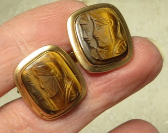 Vintage retro Art Deco era handsome Vanguard gold filled traditional carved soldier knight warrior cameo mens cufflinks