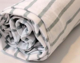 Slate Green + White Striped Baby Blanket | Stretch Jersey Knit